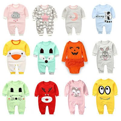 Newborn Baby Infant Cotton Rompers Jumpsuit Bodysuit Outfits Clothes Boys Girl