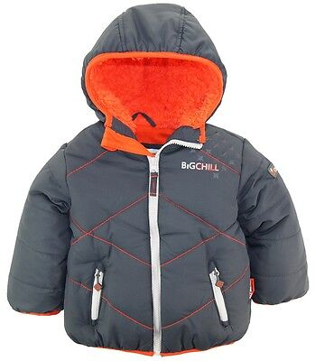 Big Chill Toddler Boys Quilted Winter Puffer Jacket with Sherpa Hood Coat