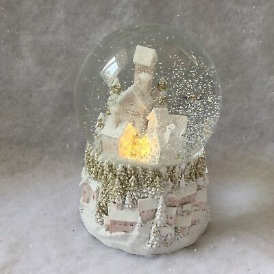 Light Up Snowy Village Glass Musical Snow Dome Gisela Graham White Christmas