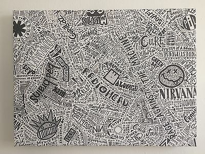 The Evolution of 1000 Alternative Rock Bands Original Canvas Wraparound Wall Art