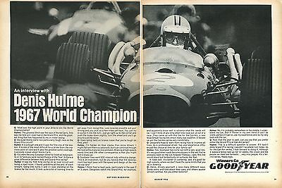 1968 Goodyear Tires 2 Page Ad & Interview w/ 1967 World Champion Denis Hulme
