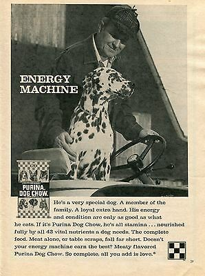 1970 Print Ad of Purina Dog Chow Dalmatian on Tractor