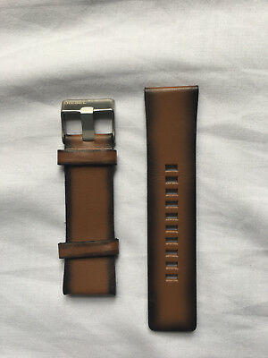 DIESEL GENUINE LEATHER WATCH STRAP WITH BUCKLE IN BROWN 26mm