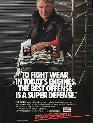 1989 Exxon Superflo Motor Oil Ad Featuring Superbowl Winning Coach John Madden