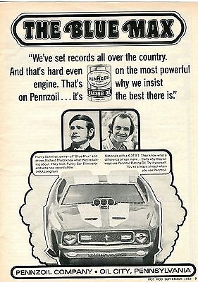 1972 Pennzoil Racing Motor Oil The Blue Max Ford Mustag Funny Car Print Ad