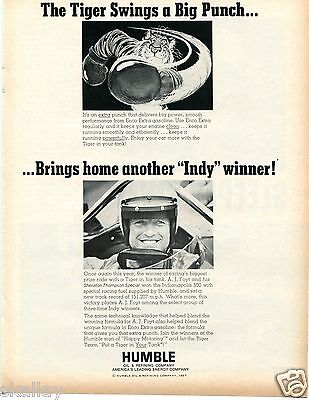 1967 Print Ad of Humble Oil Co AJ Foyt Brings Home Another Indy 500 Win Tiger