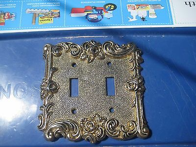 Vintage *** 1967 AMERICAN TACK *** Ornate Metal 2-Gang Toggle Switch Wall Plate
