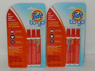Tide To Go #1 Instant Stain Remover Lot 2 Packs of 3 Portable Pens (6 Total)