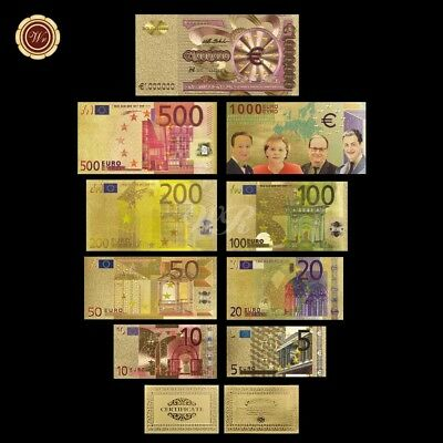 WR Collection World Banknotes Lot Europe Completed Set 9PCS 24K Gold Notes + COA