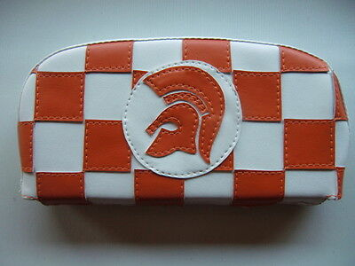 Orange/ White Check Trojan Back Rest Cover (Purse Style) Vespa/Lambretta