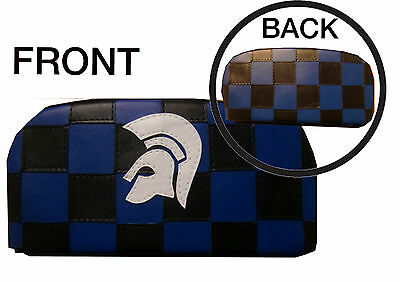 Black/ Blue Trojan Check Back Rest Cover (Purse Style)