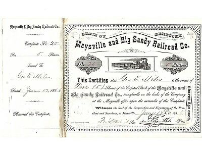 C P Huntington signed Maysville & Big Sandy Railroad Stock Certificate-1886