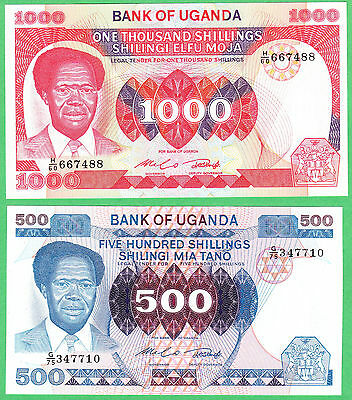 Uganda 500 & 1,000 Shillings Note P-22a & P-23a  UNCIRCULATED