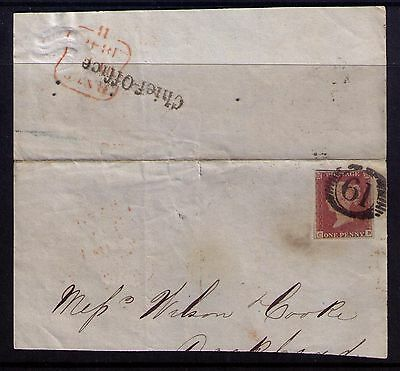 Great Britain, 1p SC #3 on Cover front 61 Cancel