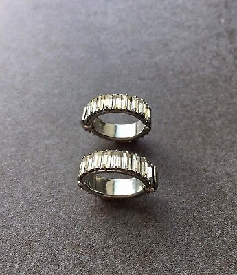 Two Vintage Clear Rhinestone Eternity Band Ring Flexible Baguette