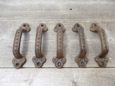 5 Cast Iron Handles Antique Style  Rustic Gate Pull Shed Door Barn Crafts 5 1/2""