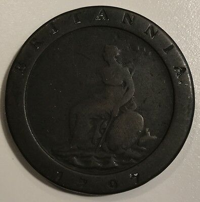1797 Great Britain Two Pence Cartwheel Copper Coin - George III