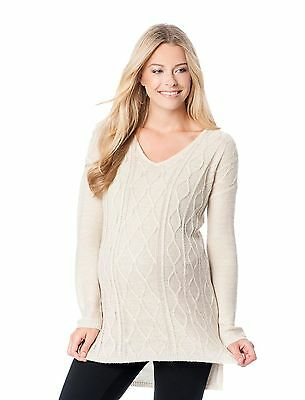 NWT Motherhood Maternity V-Neck Cable Sweater S M