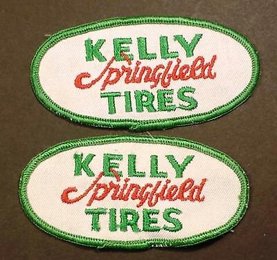 Lot of 2 Vintage Kelly Springfield Tires Sew on Cheesecloth Uniform Patches
