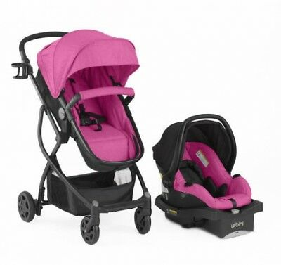 New Urbini Omni Plus Convertible Baby Travel System Stroller Car Seat Berry
