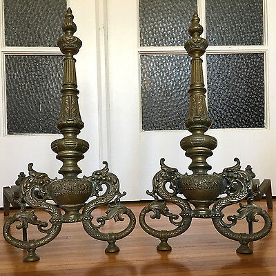 Pair of Antique Figural Dragon Andirons - Cast Bronze - 19th Century