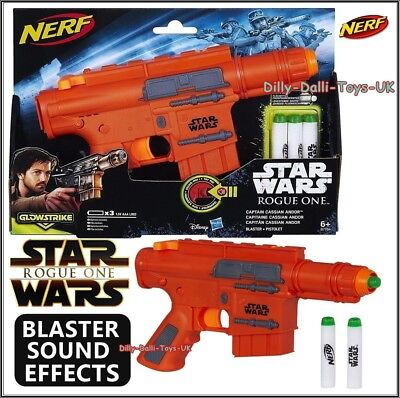 Star Wars Rogue One NERF GUN Captain Cassian Andor Blaster SOUND EFFECTS NEW