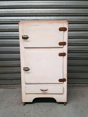 Antique Vintage Ice Box Ice Chest Fridge Refrigerator Genuine