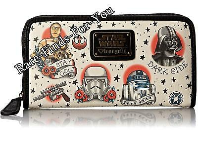 Disney Park Star Wars Tattoo Flash Print Characters Icons Loungefly Wallet (NEW)