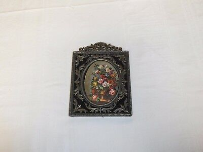 """Vintage Very Heavy Metal Picture Frame Ornate 5"""" Tall  Italy"""