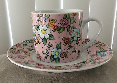 2002 Mary Engelbreit Tea Cup & Saucer Pink Floral. - Excellent Condition