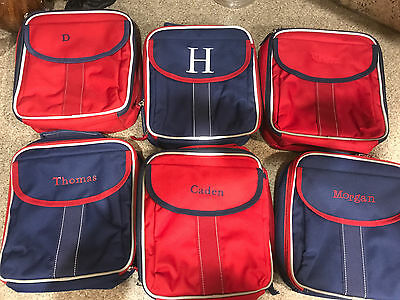 Pottery Barn Kids New Boys Lunch Bag Choose Name Red and Navy