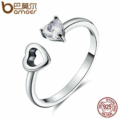 Bamoer solid .925 Sterling Silver Ring With CZ Matching Heart For Women Jewelry