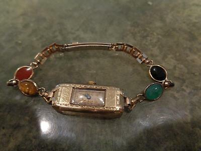 Vintage Beautiful Art Deco Bulova 1936 Miss America 4AF Watch 10k GF Case Band