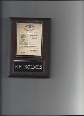 H.h. Holmes Wanted Poster Plaque Killer Crime Con Artist