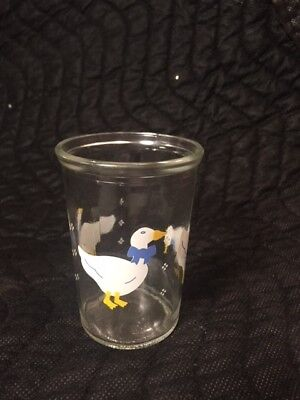 Vintage Small BAMA JELLY JAR Duck Goose COLLECTIBLE JUICE GLASS
