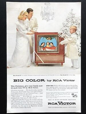 1955 Vintage Print Ad RCA VICTOR Television TV Christmas Morning Family Present