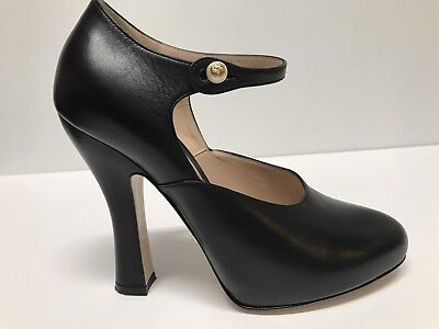 1a48cf3e37b GUCCI LESLEY BLACK LEATHER MARY JANE PUMP SHOES sz 37  850 -  308.75 ...