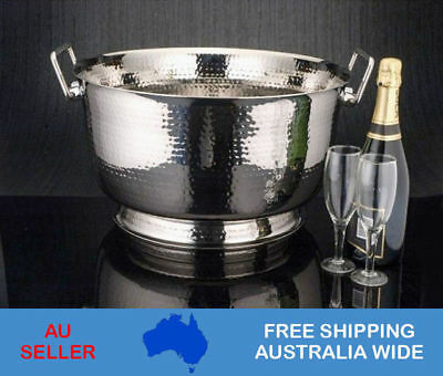 Ice Bucket Stainless Steel Hammered Punch Bowl Champagne Wine Cooler Container