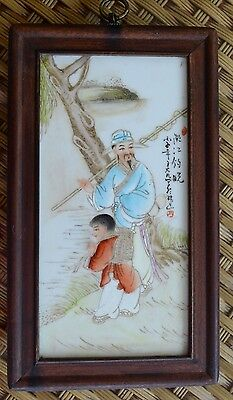 """China """"Fishing man and his Son"""" Painting on Porcelain Slate, 1900's - 1930's"""