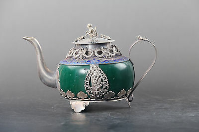 Exquisite Chinese hand carved Tibetan silver inlay Green jade teapot monkey lid