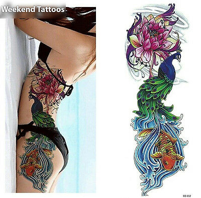 Full Arm Peacock Fish Tattoo Temporary Stickers Body Art 3D Tatoo Waterproof UK