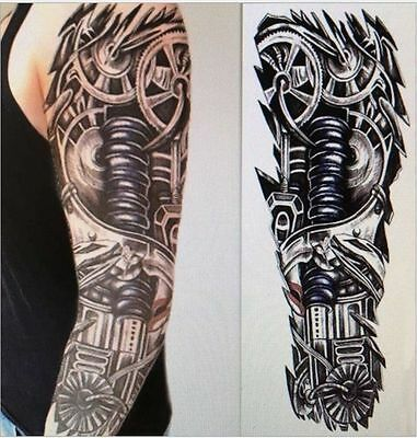 Full Robot Arm Temporary Tattoo Sleeve Stickers Body Art 3D Tattoo Terminator