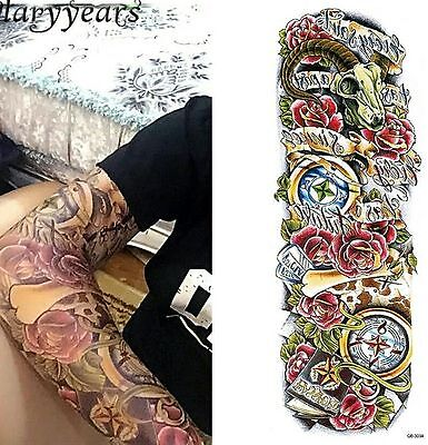 Roses Skull Clocks Large Tattoo Temporary Sleeve Body Art 3D Tatoo Waterproof