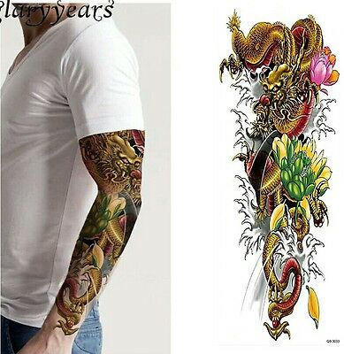 Golden Dragon Pink  Flower Temporary Tattoo Sleeves Adults Fake Tattoo Stickers