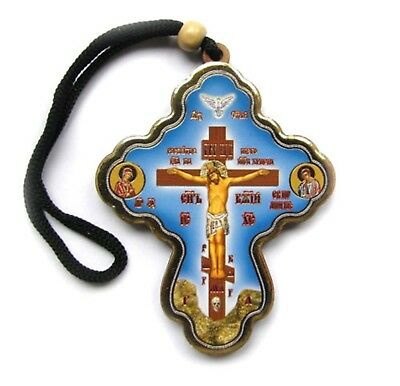 Russian Orthodox Auto  Wood Cross   For Car Window +Protection Pocket Icon