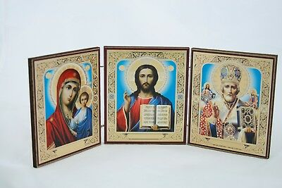 Russian  Triptych Icon St Nicholas Holly Marry And Jesus Christ 10X12X33 Cm