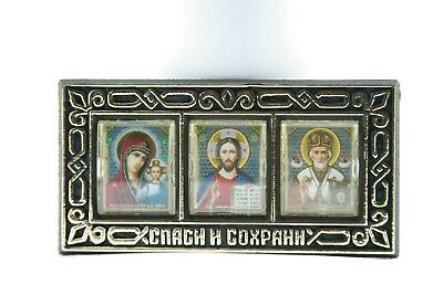 car amulet icon st nicholas, holly marry and  the saviour bless and save