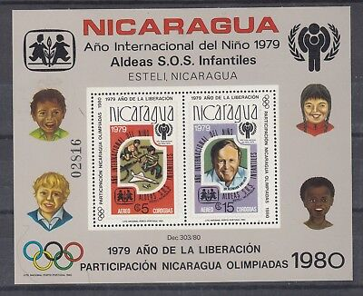 NICARAGUA: 1980 'Olympic Games' o/prt on 1979 Year of Child M/S SG 2213, MUH.