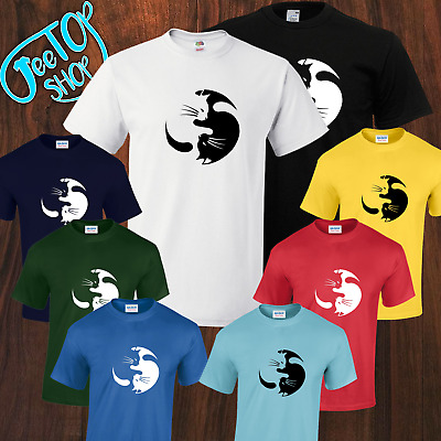 NEW Ying Yang Cats Funny Cute Kitten Meow Cool Stunning Geek T-shirt S-5XL