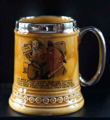 """Vintage Lord Nelson Pottery """"Time Please"""" Beer Mug Stein Tankard Made in England"""